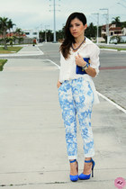 white blouse - white pants - sky blue pants - blue pumps