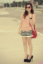white skirt - black skirt - red bag - red sunglasses - black pumps
