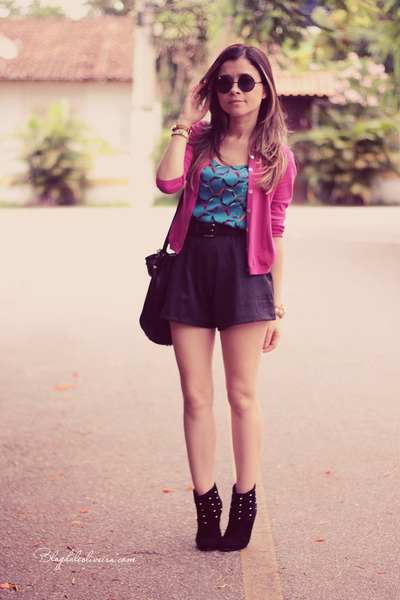 black shorts - sky blue t-shirt - hot pink cardigan