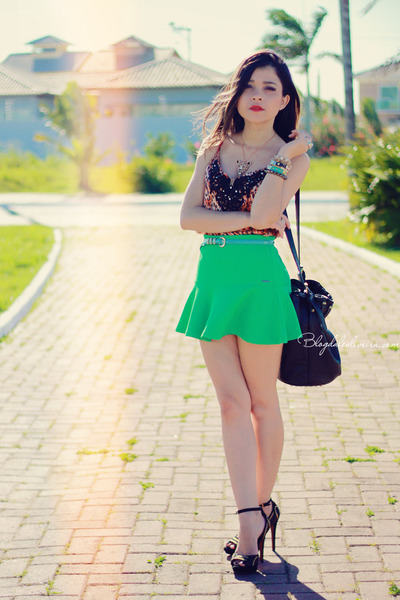 green skirt - carrot orange blouse - black sandals