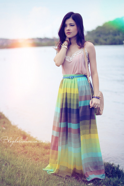 light pink t-shirt - beige bag - yellow skirt - light blue skirt