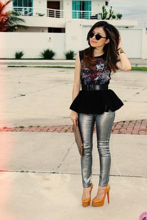 silver pants - camel bag - black sunglasses - bronze pumps - black top