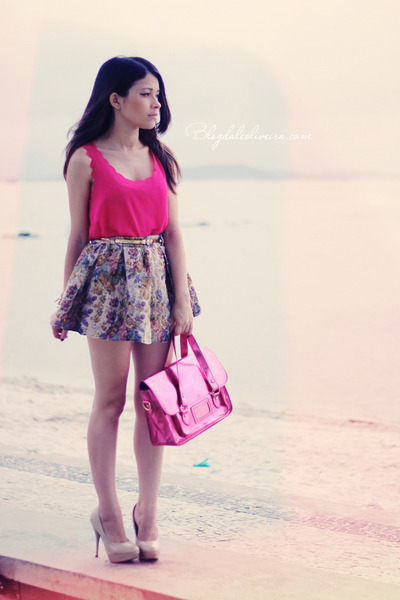 pink skirt - hot pink bag - hot pink t-shirt - neutral pumps