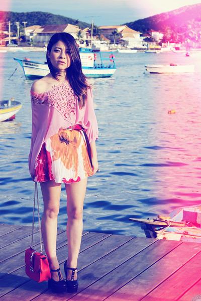 hot pink skirt - bubble gum blouse - deep purple pumps