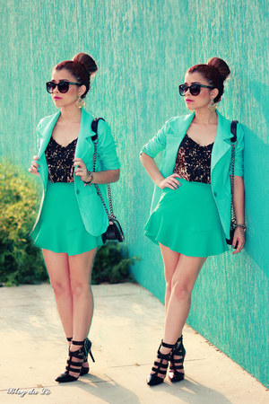 aquamarine blazer - aquamarine skirt