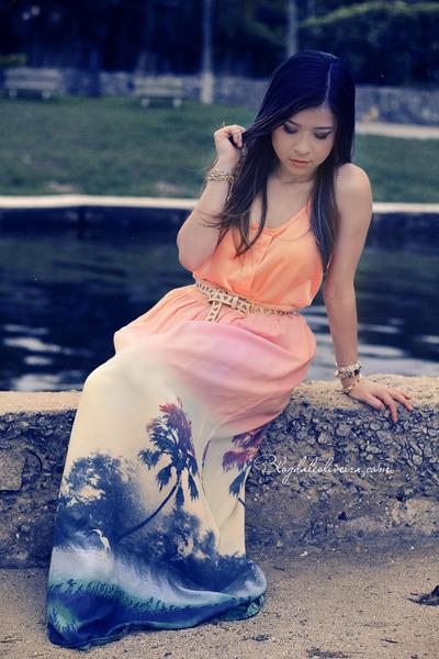 orange skirt - light pink skirt - eggshell belt