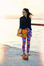 bubble gum leggings - yellow bag - sky blue sunglasses - navy blouse