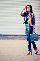 turquoise blue bag - beige jacket - dark green blouse - dark green pants