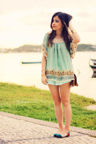 aquamarine shorts - aquamarine blouse - green flats