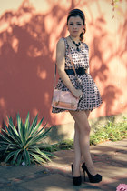 light pink bag - light pink dress - black dress - black pumps