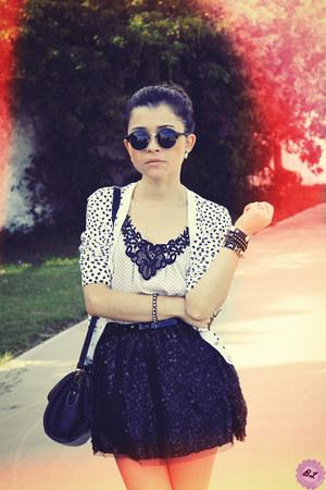 black bag - black sunglasses - black skirt - black cardigan - white t-shirt