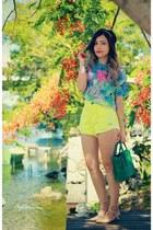 light yellow shorts - sky blue blouse