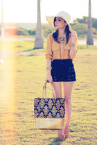 mustard bag - black shorts - mustard blouse
