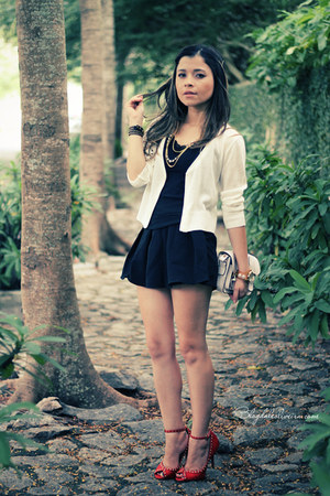 red sandals - black shorts - white cardigan