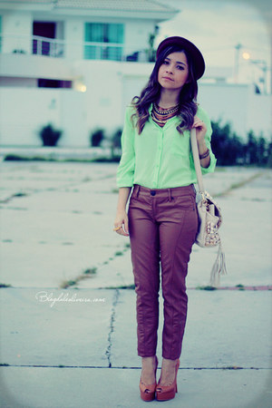 lime green blouse - bronze pants