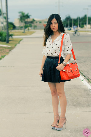 white shirt - carrot orange bag - black skirt - beige sandals