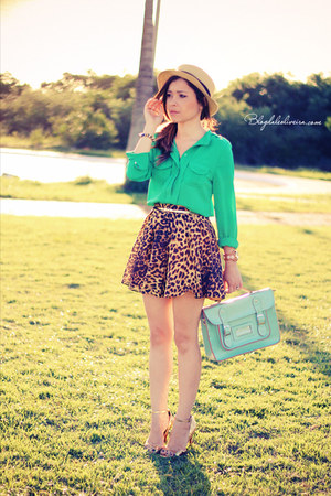 green blouse - neutral hat - light blue bag - gold skirt