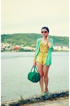 mustard shorts - chartreuse cardigan