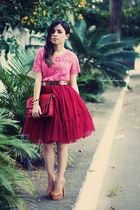 brick red bag - ruby red skirt - bubble gum blouse