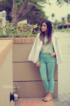 white blazer - aquamarine pants - light blue blouse