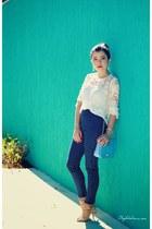 white shirt - blue pants