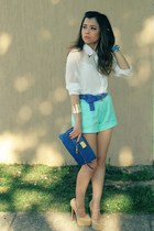 white blouse - aquamarine shorts - blue belt - neutral pumps