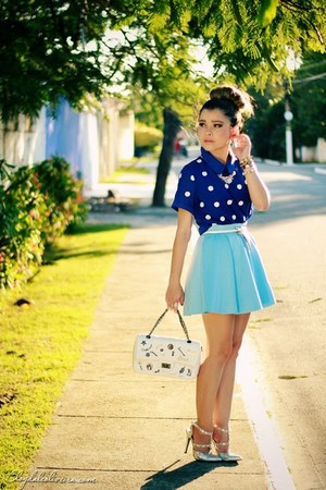blue blouse - sky blue skirt