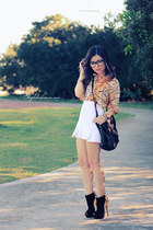 black boots - dark gray bag - black sunglasses - off white skirt - nude blouse