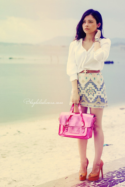 hot pink bag - bubble gum skirt - ivory skirt - white blouse