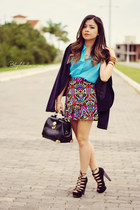 hot pink skirt - black cardigan - sky blue blouse - black sandals