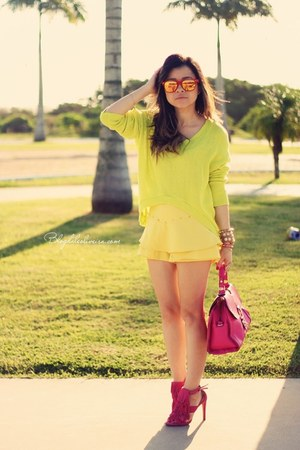 yellow shorts - hot pink bag - lime green cardigan - hot pink sandals