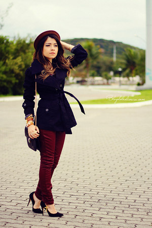 black sweater - maroon pants