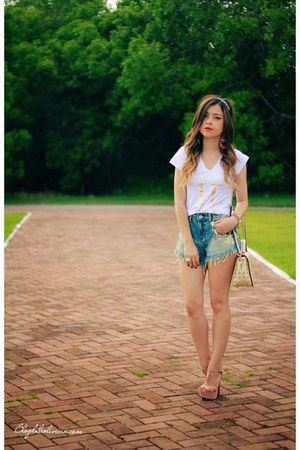 light blue shorts - white blouse