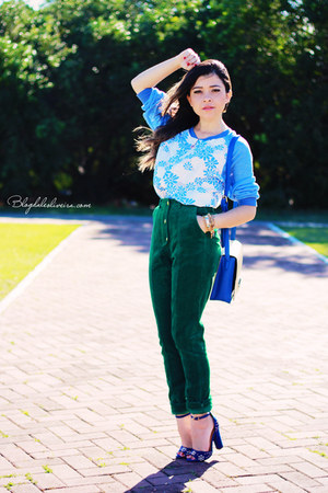 teal pants - sky blue blouse