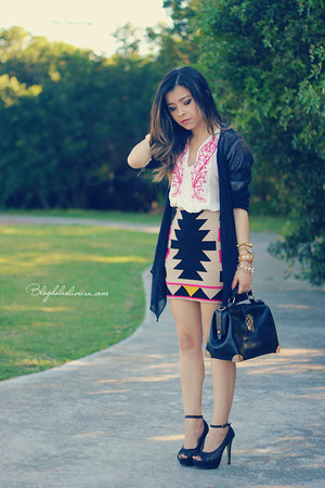 bubble gum skirt - black bag - ivory blouse - black pumps - black cardigan
