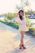 red bag - beige shorts - eggshell blouse - red heels
