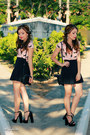 Light-pink-shirt-black-skirt