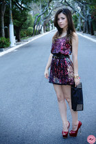 black bag - brick red dress - black belt - ruby red pumps