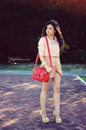 salmon shorts - light pink sweater - carrot orange bag - beige pumps