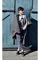 heather gray gingham jacket Zara jacket - charcoal gray collar jacket sweater
