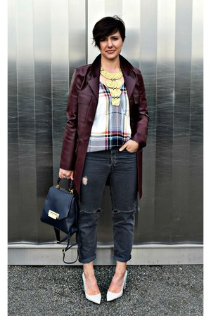 crimson leather coat Zara coat - check blouse shirt - gold necklace