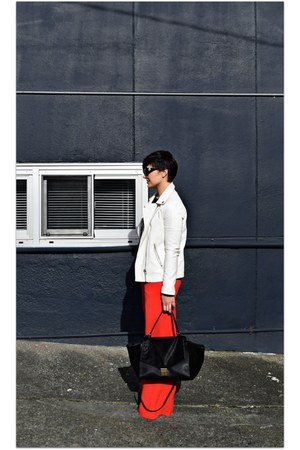 red Nordstrom pants - ivory Forever 21 jacket
