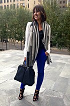 ivory peplum Nordstrom blazer - Topshop scarf - blue skinny trouser Zara pants