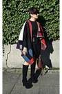 Black-snakeskin-calvin-klein-boots-red-burberry-poncho-sheinside-jacket
