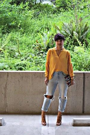 gold peasant blouse H&M blouse