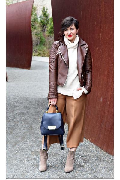 brown Zara jacket - camel culottes Zara pants