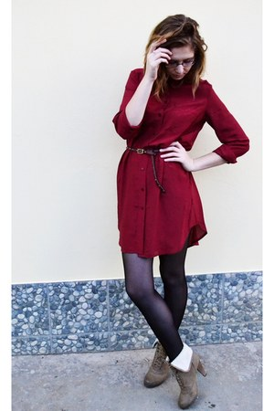 brick red H&M dress - camel no name boots - dark brown Stradivarius belt