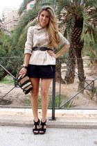 cream Zara jacket - BLANCO bag - black Zara heels - black BLANCO skirt