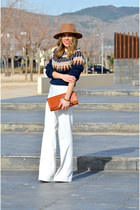 navy Choies jumper - white Zara pants