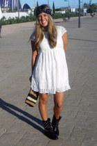 black Bershka boots - white Zara dress - BLANCO bag